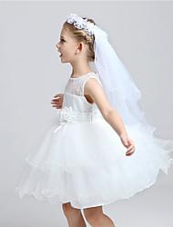 cheap -Two-tier Cut Edge Wedding Veil Communion Veils With Applique Tulle