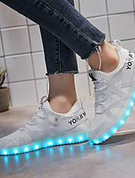 Women's Sneakers Light Soles Light Up Shoes Spring Fall Tulle Walking Shoes Athletic Casual Outdoor Lace-up Low Heel White Black Blushing