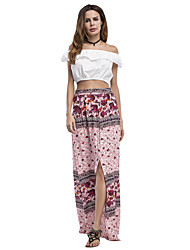 ANGELL Women's Going out Casual/Daily Maxi SkirtsSimple Street chic Relaxed Print Summer Fall