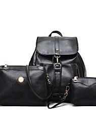 Недорогие -Жен. Мешки PU рюкзак Комплект поставки 3 шт. Черный / Красный / Бежевый