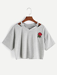 cheap -Women's Going out Cute Casual Cotton T-shirt - Solid Colored Embroidery, Artistic Style Heart Style Classic Embroidered V Neck