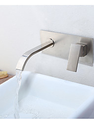 cheap -Wall Mounted Ceramic Valve Single Handle Two Holes Nickel Brushed, Bathroom Sink Faucet