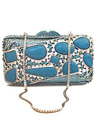 preiswerte -Damen Taschen Glas PU Metall Abendtasche Kristall Metallkette Streifen für Hochzeit Veranstaltung / Fest Formal Ganzjährig Blau Grün