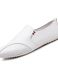 cheap -Men's Loafers & Slip-Ons Comfort Spring Summer Fall Winter Leatherette Walking Shoes Casual Rivet Flat Heel White Black Flat