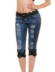 cheap -Women's Street chic Denim Slim Jeans Pants - Patchwork Fashion Classic, Lace Cut Out