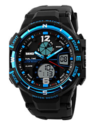 cheap -SKMEI Men's Sport Watch Digital Watch Digital Water Resistant / Water Proof Alarm Calendar / date / day PU Band Analog-Digital Black - Black Red Blue Two Years Battery Life / Dual Time Zones