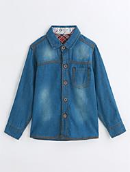 baratos -Para Meninos Camisa Sólido Primavera Outono Algodão Manga Longa Azul
