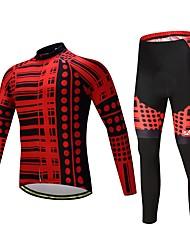 billige -Langærmet Cykeltrøje og tights Cykel Tøjsæt, Hurtigtørrende Polyester, Spandex, Silikone / Lycra