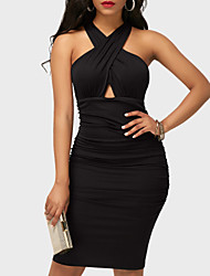 cheap -Women's Party Daily Club Casual Sexy Street chic Bodycon Dress,Solid V Neck Above Knee Sleeveless Polyester Spring Summer High Rise
