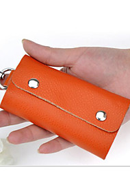 Unisex Bags All Seasons Cowhide Key Holder with for Casual Outdoor Blue Orange Red