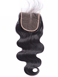 cheap -Brazilian Human Hair Body Wave Lace Closure Bleached Knots 4x4 Inches Human Hair Closure Natural Hairline with Baby Hair