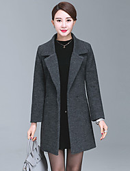 Women's Casual/Daily Simple Fall Winter Coat,Solid Peter Pan Collar Long Sleeve Regular Wool Polyester
