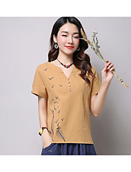 cheap -Women's Cute Casual Cotton T-shirt - Solid Colored Embroidery V Neck
