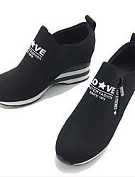 Mulheres Sapatos Tecido Primavera Outono Conforto Mocassins e Slip-Ons Caminhada Sem Salto Ponta Redonda Ziper para Casual Ao ar livre