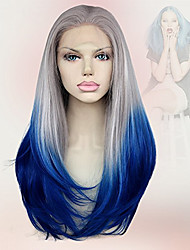 18Inch Sexy Silk Straight Synthetic Lace Front Wigs Omber Grey Blue Wig Heat Resistant New Arrival