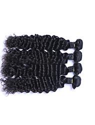 Popular Short Size 4 Pcs 400g Brazilian Virgin Remy Human Hair Wefts 100% Unprocessed Deep Wave Human Hair Weaves Natural Black Human Hair Extensions