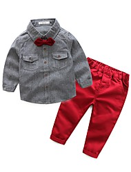 Boys' Solid Clothing Set,Cotton Polyester Spring Fall Long Sleeve Blue