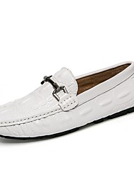 cheap -Men's Cowhide Summer / Fall Comfort Loafers & Slip-Ons Walking Shoes White / Black