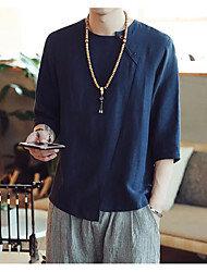 Men's Going out Casual/Daily Simple Summer T-shirt,Solid Round Neck Half Sleeves Linen Others