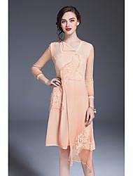 Fodero Vestito Da donna-Feste Per uscire Vintage Moda città Stoffe orientali Tinta unita Asimmetrico Asimmetrico Manica lunga Seta