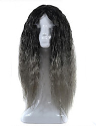 Europe and the United States Big Wave Lady Animation Headgear Black Gradient Deep Grandma Gray Corn Long Curly Hair Cosplay Wigs Head Cover 26inch
