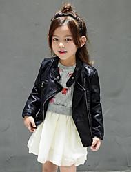 cheap -Girls' Solid Jacket & Coat, PU Spring Fall Long Sleeves Black