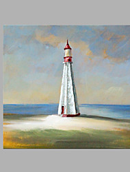cheap -IARTS® Hand Painted Abstract Oil Painting Modern Blue Sky Light House Island Painting with Stretched Frame For Home Decoration Ready To Hang
