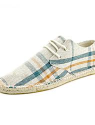 Da uomo Sneakers Espadrillas Suole leggere Cotone Lino Estate Autunno Casual Serata e festa Lacci A quadri Piatto Beige Grigio Piatto