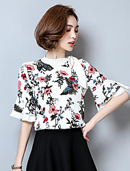 Women's Going out Street chic Blouse,Print Color Block Crew Neck Half Sleeves Others