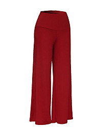 cheap -Women's Plus Size Loose Bootcut Wide Leg Pants - Solid, Pure Color High Waist