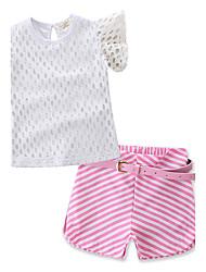 Girls' Fashion Hollow Lace SetsCotton Lace Summer Short Pant Baby Clothing Set Kids Short Sleeve T-shirt Clothes