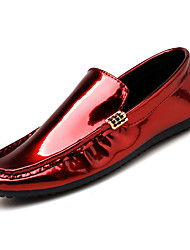 Men's Loafers & Slip-Ons Light Soles Spring Summer Patent Leather PU Casual Flat Heel Black Silver Ruby Under 1in