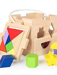 baratos -Blocos de Construir Jogos de Madeira para presente Blocos de Construir 1-3 anos 3-6 anos de idade Brinquedos