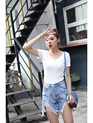 Women's High Waist strenchy Jeans Pants,Sexy Simple Relaxed Loose Pure Color Solid