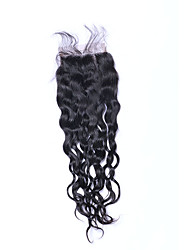 cheap -Classic Natural Wave 4x4 Closure Swiss Lace Human Hair Free Part Middle Part 3 Part High Quality Daily