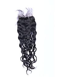 abordables -1 pedazo 8-20 pulgadas el 100% no procesó el cierre brasileño negro natural del pelo humano de la onda natural natural de la onda 7a parte