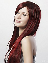 Long Straight Women Wig Wine Red Heat Resistant Synthetic Hair  Cosplay Wigs