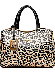 Women Bags All Seasons PU Tote Leopard for Wedding Event/Party Casual Formal Office & Career Black Beige
