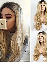 Ombre Long Body Wave Blonde Wavy Synthetic Lace Front Wigs Two Tone Color 1B Black Root To Blonde Heat Resistant Hair Wig For Women Daily Hit Style