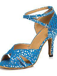 "Women's Latin Nubuck leather Heels Indoor Buckle White Blue 2"" - 2 3/4"" Customizable"