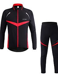 preiswerte -WOSAWE Langarm Fahrradhose mit Jacke - Rot Fahhrad Kleidungs-Sets, Reflexstreiffen