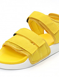 cheap -Women's Sandals Comfort Light Soles Summer PU Dress Hook & Loop Flat Heel Black Yellow Ruby Flat