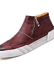 Недорогие -Муж. обувь Полиуретан Весна Осень Удобная обувь Кеды Молнии для Повседневные Черный Коричневый Винный