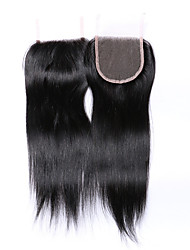 cheap -Fashion&Popular Grade 8A Natural Black Straight Brazilian Human Hair Closures Free/Middle/3 Part  4*4 Swiss Lace Closures Human Hair Extensions/Weaves