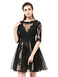 cheap -Princess Fit & Flare Jewel Neck Knee Length Lace Graduation Cocktail Party Dress with Lace by Sarahbridal