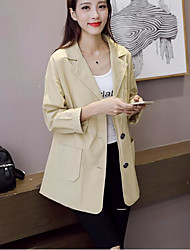 Women's Casual/Daily Simple Fall Suit,Solid Shirt Collar Long Sleeve Long Cotton