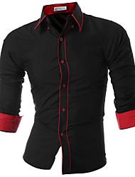 levne -Pánské - Jednobarevné Víkend Business Košile Bavlna Štíhlý