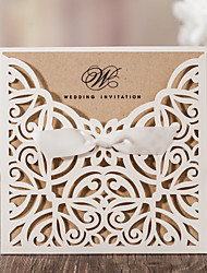 Wrap & Pocket Wedding Invitations 10-Invitation Cards Classic Style Embossed Paper