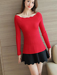 Women's Casual/Daily Simple Regular Pullover,Solid Boat Neck Long Sleeve Others Spring Medium Stretchy