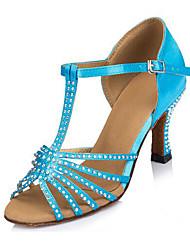 Da donna Balli latino-americani Licra Finto camoscio Tacchi Professionale Con diamantini A stiletto Viola Blu 7,5 - 9,5 cm